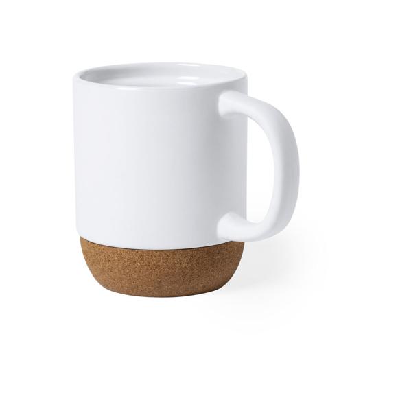 Ceramic cork mug white