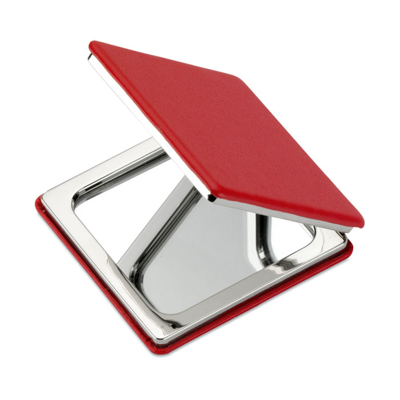 square compact mirror red
