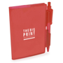 notebook and pen red