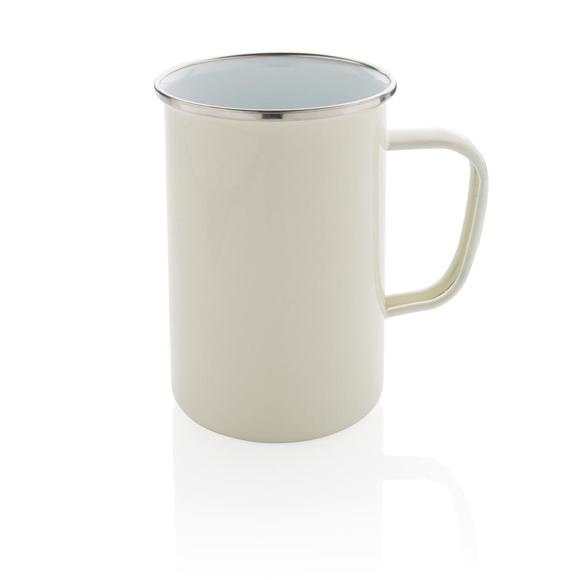 vintage enamel mug white