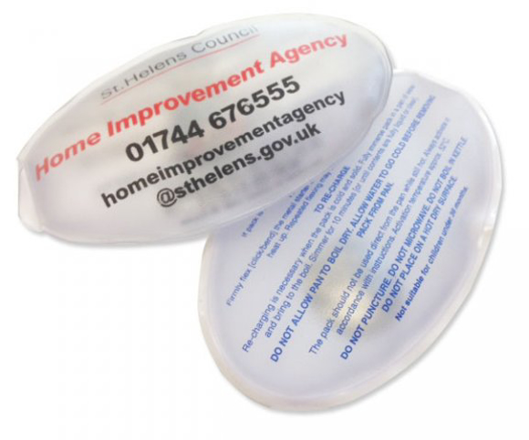 Promotional Oval Heat Pack in clear with 3 colour print