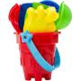 Platic beach bucket set red